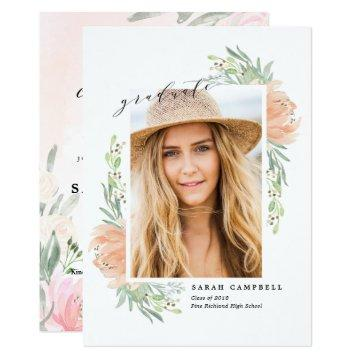 Photo Graduation Card Watercolor / Flowers