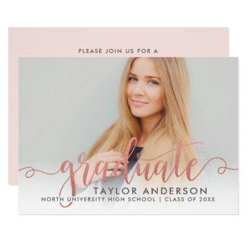Photo Graduation Invitation | Rose Gold Graduate