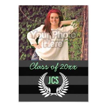 Photo Graduation Monogram Black Mint Green Preppy Invitation