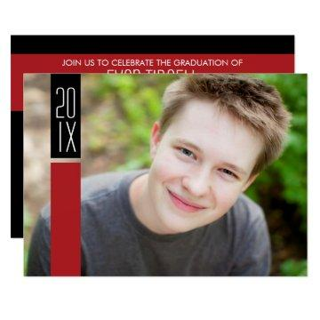Photo Graduation Party - Red & Black Color Block Invitation