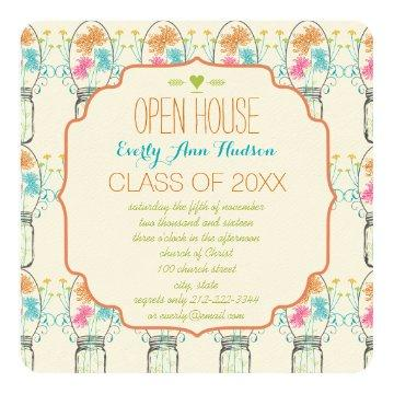 Photo Mason Jar Pink Coral Aqua Floral Graduation Card