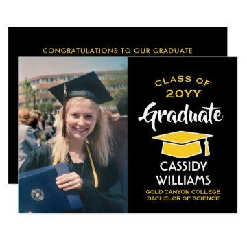 Photo Modern Black Gold Yellow Graduation Party Invitation
