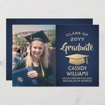 Photo Navy Blue and Gold Elegant Modern Graduation Invitation