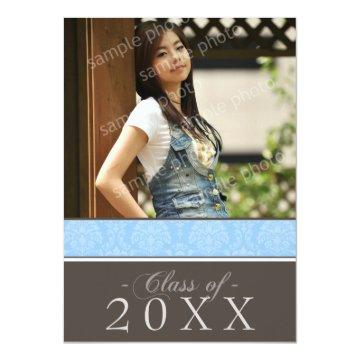 Pick YOUR Color Damask 5x7 Graduation Announcement