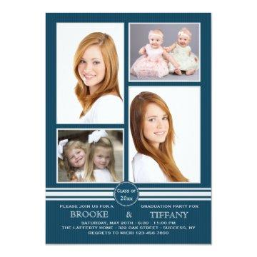 Pin Stripe Four Photo Blue Graduation Invitation