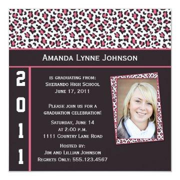 Pink and Brown Leopard Print Graduation