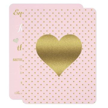 Pink And Gold Heart Polka Dot Shower Bridal Party Invitation