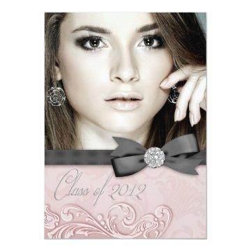 Pink Black Damask Photo Graduation Announcements