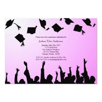 Pink Black Silhouette Graduation Party