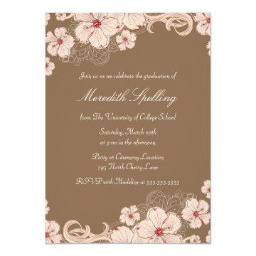Pink   brown cherry blossom chic graduation party card