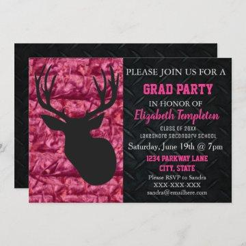 Pink Camo Deer Hunting Graduation Party Invitation
