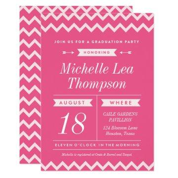 Pink Chevron Stylish Graduation Party