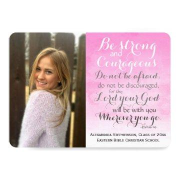 Pink Christian Bible Verse Custom Photo Graduation Card