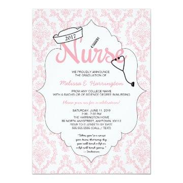 Pink Damask Nurse graduation pinning invite