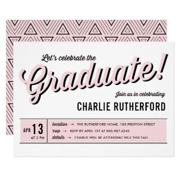 Pink Diner Retro Typography Graduation Party Card