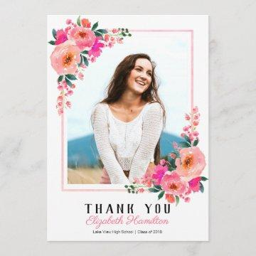 Pink Floral Frame Graduation Photo Thank You Announcement