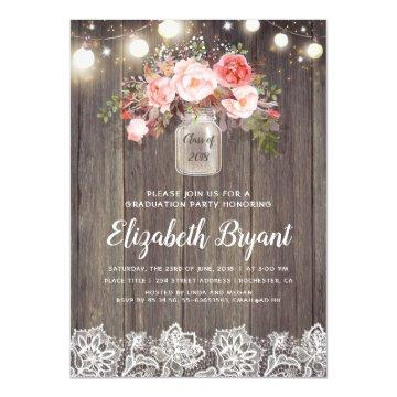 Pink Floral Mason Jar Rustic Lace Graduation Party Invitation