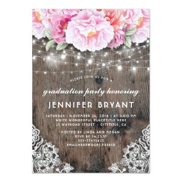 Pink Floral String Lights Rustic Graduation Party Card