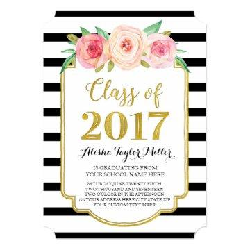 Pink Flowers Black Stripes Gold Photo Graduation Card