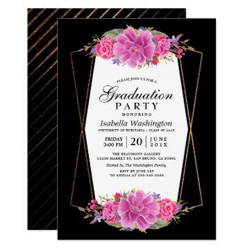 Pink Flowers & Gold Geometric Graduation Party Card