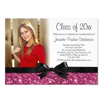 Pink Glitter Image Ribbon Bow Photo Graduation Card