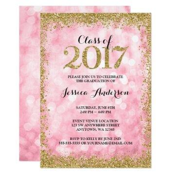 Pink Gold Faux Glitter Lights 2017 Graduation Card