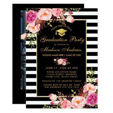 Pink Gold Striped Graduation Invite - Photo Back