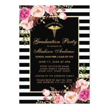 Pink Gold Striped Medical Grad Party Invitation