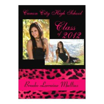 Pink leopard animal print graduation announcement