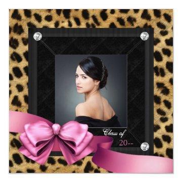 Pink Leopard Photo Graduation Announcements