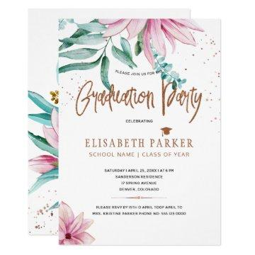 Pink magnolia copper glitter graduation party invitation