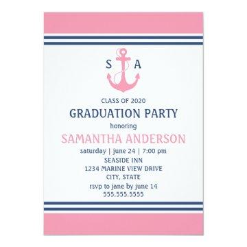 Pink Nautical Graduation Party Invites