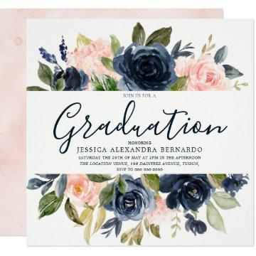 Pink Navy Blue Watercolor Flowers Graduation Party Invitation