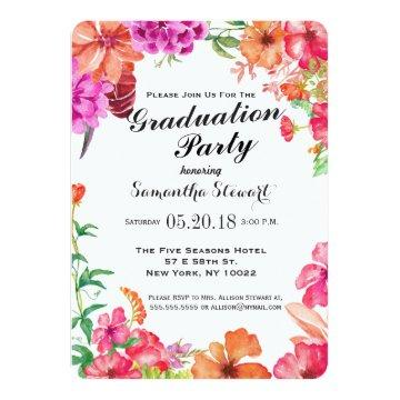 Pink Orange Watercolor Garden Graduation Party Invitation