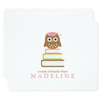Pink Owl Kindergarten Graduation Thank You Card