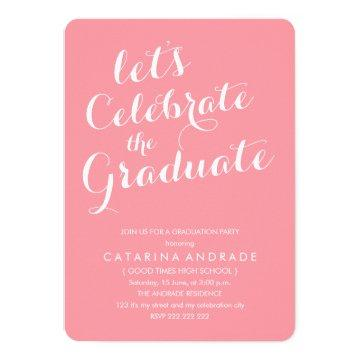 Pink Photo Graduation Party Girly Modern Script Invitation