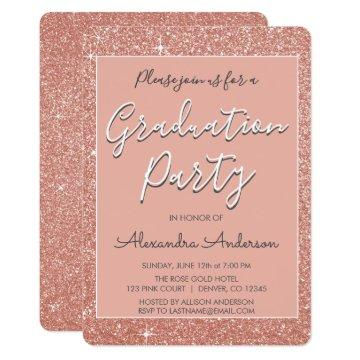 Pink Rose Gold Glitter Graduation Party Card