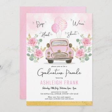 Pink Roses Graduation Parade High School Grad Invitation