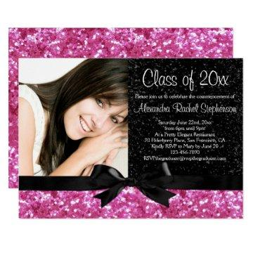 Pink Sparkle-look Bow Photo Graduation Card