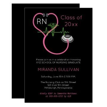 Pink Stethoscope EKG Nursing Graduation Party Invitation