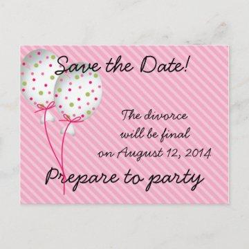Pink Striped Celebrations Announcement Postcard
