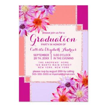Pink Teal Flowers Leaves Oil Painted Graduation Invitation