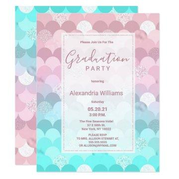 Pink teal scallope mermaid gradient Graduation Invitation