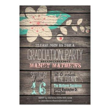 Pink & Turquoise; Rustic Wood Graduation Party Card