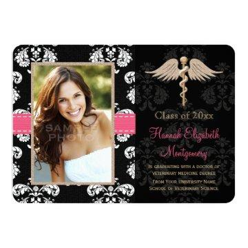 Pink Veterinary Vet School Graduation Announceme Card