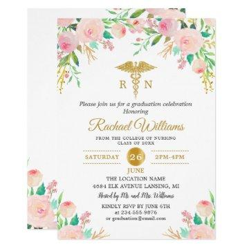 Pink Watercolor Floral Gold Nurse Graduation Party