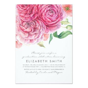 Pink Watercolor Flowers Elegant Modern Graduation