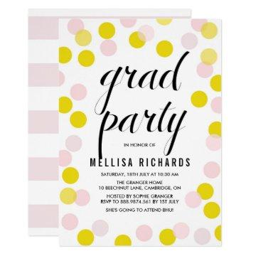 Pink & Yellow Polka Dots Confetti Graduation Party Card
