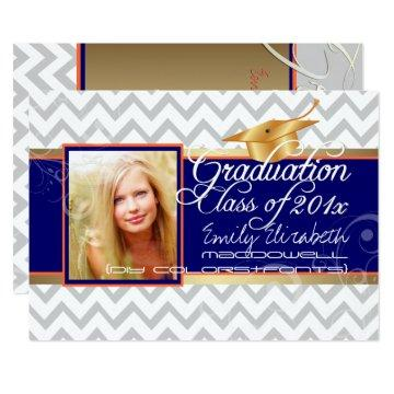PixDezines diy colors/white chevron/graduation Card
