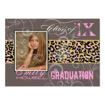 PixDezines Graduation/cheetah, neon pink Invitation